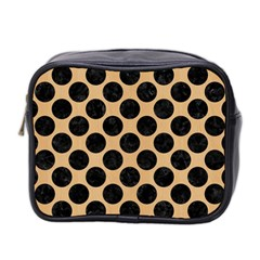Circles2 Black Marble & Natural White Birch Wood (r) Mini Toiletries Bag 2 Side by trendistuff