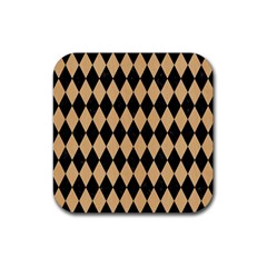 Diamond1 Black Marble & Natural White Birch Wood Rubber Square Coaster (4 Pack)  by trendistuff