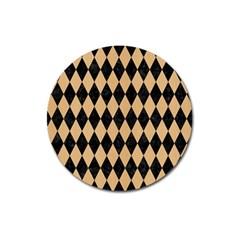 Diamond1 Black Marble & Natural White Birch Wood Magnet 3  (round) by trendistuff