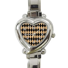 Diamond1 Black Marble & Natural White Birch Wood Heart Italian Charm Watch by trendistuff