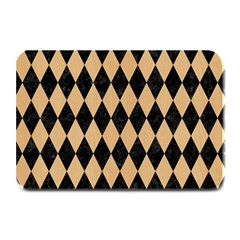 Diamond1 Black Marble & Natural White Birch Wood Plate Mats by trendistuff