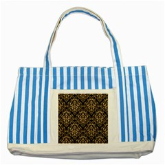 Damask1 Black Marble & Natural White Birch Wood Striped Blue Tote Bag by trendistuff