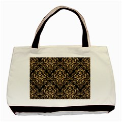 Damask1 Black Marble & Natural White Birch Wood Basic Tote Bag (two Sides) by trendistuff