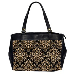 Damask1 Black Marble & Natural White Birch Wood Office Handbags (2 Sides)  by trendistuff