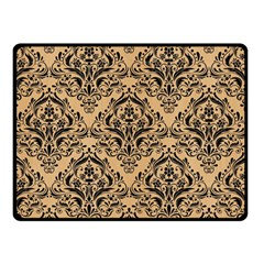 Damask1 Black Marble & Natural White Birch Wood (r) Double Sided Fleece Blanket (small)  by trendistuff