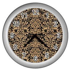 Damask2 Black Marble & Natural White Birch Wood Wall Clocks (silver)  by trendistuff
