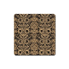 Damask2 Black Marble & Natural White Birch Wood Square Magnet by trendistuff