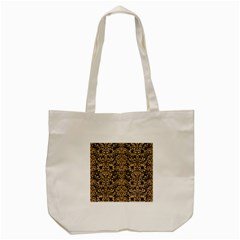 Damask2 Black Marble & Natural White Birch Wood Tote Bag (cream) by trendistuff