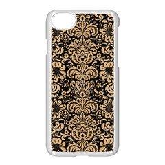Damask2 Black Marble & Natural White Birch Wood Apple Iphone 7 Seamless Case (white) by trendistuff