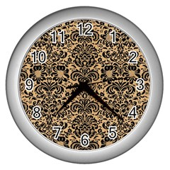 Damask2 Black Marble & Natural White Birch Wood (r) Wall Clocks (silver)  by trendistuff