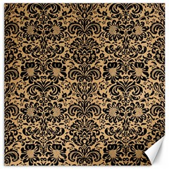 Damask2 Black Marble & Natural White Birch Wood (r) Canvas 16  X 16   by trendistuff