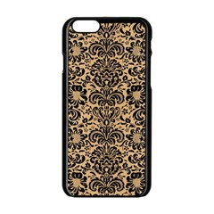 Damask2 Black Marble & Natural White Birch Wood (r) Apple Iphone 6/6s Black Enamel Case by trendistuff