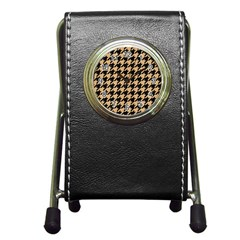 Houndstooth1 Black Marble & Natural White Birch Wood Pen Holder Desk Clocks by trendistuff