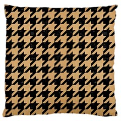 Houndstooth1 Black Marble & Natural White Birch Wood Large Cushion Case (two Sides) by trendistuff