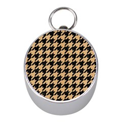Houndstooth1 Black Marble & Natural White Birch Wood Mini Silver Compasses by trendistuff