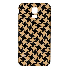 Houndstooth2 Black Marble & Natural White Birch Wood Samsung Galaxy S5 Back Case (white) by trendistuff