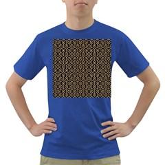 Hexagon1 Black Marble & Natural White Birch Wood Dark T Shirt by trendistuff