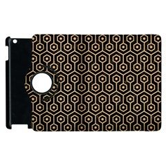 Hexagon1 Black Marble & Natural White Birch Wood Apple Ipad 2 Flip 360 Case by trendistuff