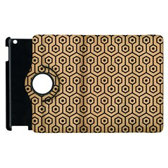 Hexagon1 Black Marble & Natural White Birch Wood (r) Apple Ipad 3/4 Flip 360 Case by trendistuff