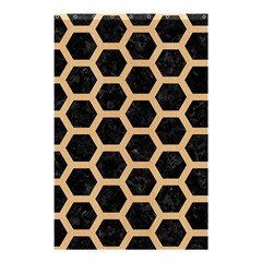 Hexagon2 Black Marble & Natural White Birch Wood Shower Curtain 48  X 72  (small)  by trendistuff