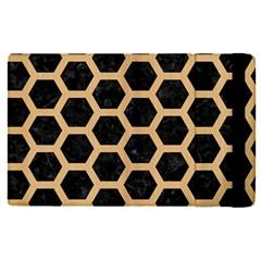 Hexagon2 Black Marble & Natural White Birch Wood Apple Ipad Pro 12 9   Flip Case by trendistuff
