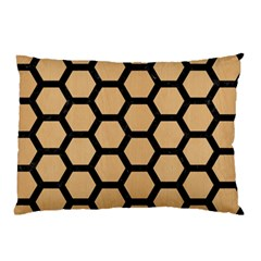 Hexagon2 Black Marble & Natural White Birch Wood (r) Pillow Case (two Sides) by trendistuff