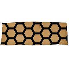 Hexagon2 Black Marble & Natural White Birch Wood (r) Body Pillow Case Dakimakura (two Sides) by trendistuff