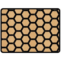 Hexagon2 Black Marble & Natural White Birch Wood (r) Double Sided Fleece Blanket (large)  by trendistuff