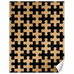 Puzzle1 Black Marble & Natural White Birch Wood Canvas 12  X 16   by trendistuff