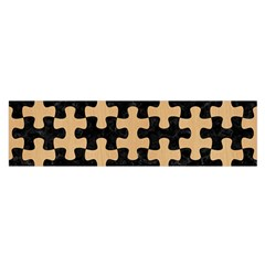 Puzzle1 Black Marble & Natural White Birch Wood Satin Scarf (oblong) by trendistuff