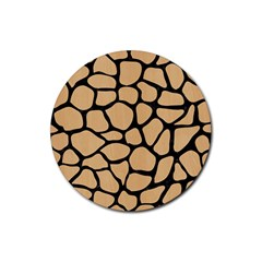 Skin1 Black Marble & Natural White Birch Wood Rubber Round Coaster (4 Pack)  by trendistuff