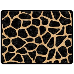 Skin1 Black Marble & Natural White Birch Wood (r) Fleece Blanket (large)  by trendistuff