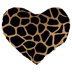 Skin1 Black Marble & Natural White Birch Wood (r) Large 19  Premium Heart Shape Cushions by trendistuff