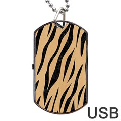 Skin3 Black Marble & Natural White Birch Wood (r) Dog Tag Usb Flash (two Sides) by trendistuff