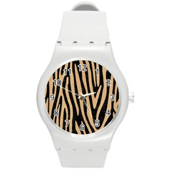 Skin4 Black Marble & Natural White Birch Wood (r) Round Plastic Sport Watch (m) by trendistuff