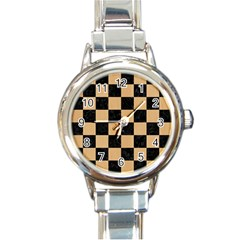 Square1 Black Marble & Natural White Birch Wood Round Italian Charm Watch by trendistuff