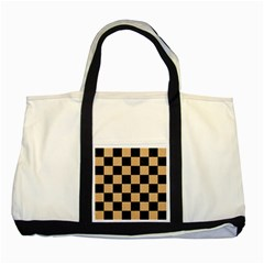 Square1 Black Marble & Natural White Birch Wood Two Tone Tote Bag by trendistuff