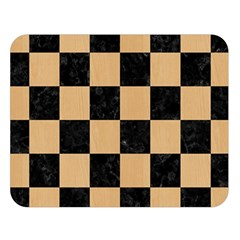 Square1 Black Marble & Natural White Birch Wood Double Sided Flano Blanket (large)  by trendistuff