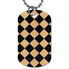 Square2 Black Marble & Natural White Birch Wood Dog Tag (one Side) by trendistuff