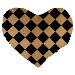Square2 Black Marble & Natural White Birch Wood Large 19  Premium Flano Heart Shape Cushions by trendistuff