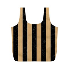 Stripes1 Black Marble & Natural White Birch Wood Full Print Recycle Bags (m)  by trendistuff