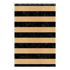 Stripes2 Black Marble & Natural White Birch Wood Shower Curtain 48  X 72  (small)  by trendistuff