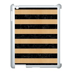 Stripes2 Black Marble & Natural White Birch Wood Apple Ipad 3/4 Case (white) by trendistuff