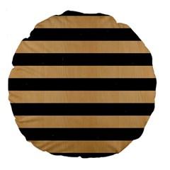 Stripes2 Black Marble & Natural White Birch Wood Large 18  Premium Flano Round Cushions by trendistuff
