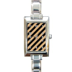 Stripes3 Black Marble & Natural White Birch Wood Rectangle Italian Charm Watch by trendistuff