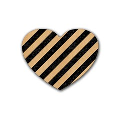 Stripes3 Black Marble & Natural White Birch Wood Heart Coaster (4 Pack)  by trendistuff
