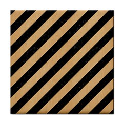 Stripes3 Black Marble & Natural White Birch Wood Face Towel by trendistuff