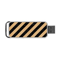 Stripes3 Black Marble & Natural White Birch Wood Portable Usb Flash (two Sides) by trendistuff