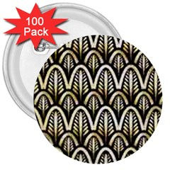 Art Deco Gold Black Shell Pattern 3  Buttons (100 Pack)  by 8fugoso