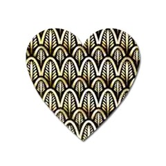 Art Deco Gold Black Shell Pattern Heart Magnet by 8fugoso